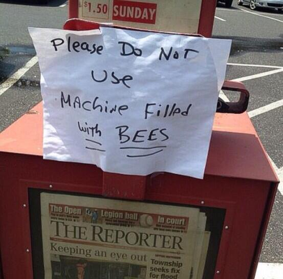 Please do not use, machine is filled WITH BEES